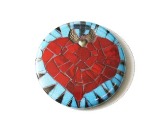 Stocking Filler - Sacred Heart Pocket Mirror, Mexican, Pale Blue