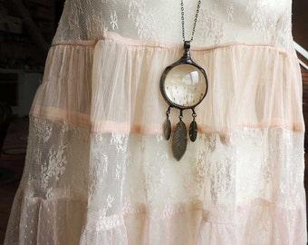 huge, Terrariums necklaces,dandelion necklace, soldered necklace, Bohemian Long necklace, Chic Necklace, Feathers Necklace, Summer Necklace