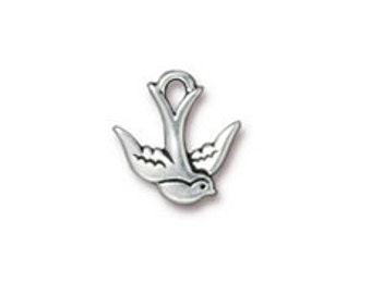 5 Pc Swallow Bird Charm 17x16mm Antique Silver Finish TierraCast Charms, Lead Free Pewter, Double sided  - P2300SA
