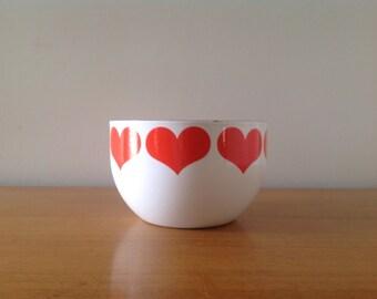 Kaj Franck Small Enamel Heart Bowl - Arabia Finland Mid Century Modern