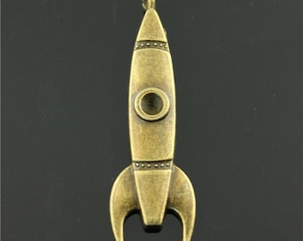 10pcs Rocket Charms, 15x50mm Antique Brass Tone Rocket Charms Pendant, Missile Charms