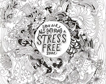 """11x14"""" StressFreeZone Coloring Page"""