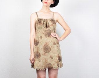 Vintage 90s Dress Mini Dress Brown Tan Beige Floral Print Mesh 1990s Dress Soft Grunge Dress Ruched Bust Club Kid Dress S Small M Medium