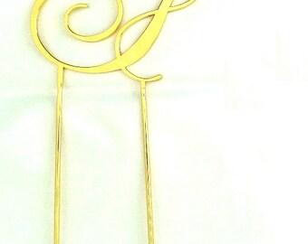 """Custom Gold Monogram Cake Topper """"F"""""""
