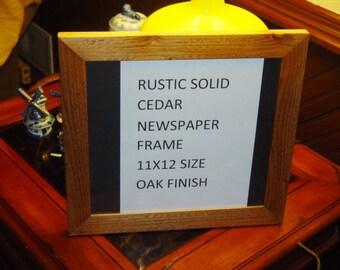 11 x 12 size Newspaper frame solid rustic cedar light oak finish deep cut
