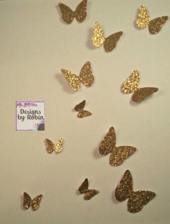 3D Gold butterfly wall art small butterflies swarm of gold
