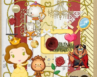 Cute Beauty and Beast Digital Scrapbooking Kit from Carioca Digital