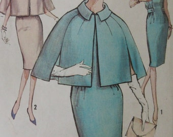 Vintage 1960s Simplicity Pattern No 5359 Misses One Piece Sheath Dress And Cape Size 14