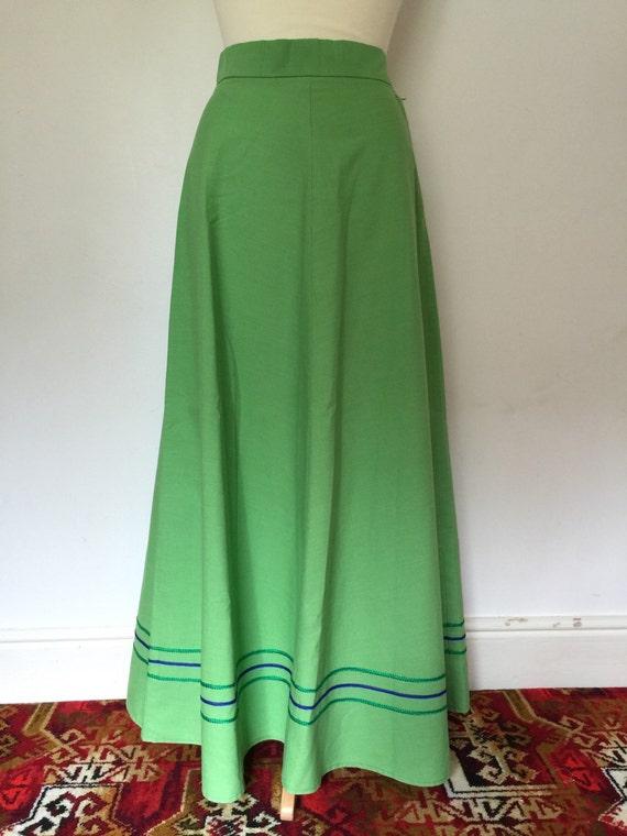 vintage maxi skirt lime green cotton aline flare hippy