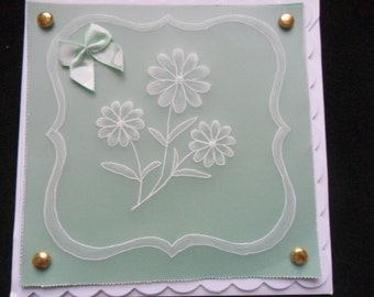 Handmade  Card - Parchment Craft, Pergamano, flowers, blank , birthday, thank you, get well, congratulations, anniversary,