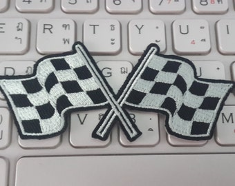 Motor Racing Flags Iron on Patch - Motor Racing Flags Applique Embroidered Iron on Patch