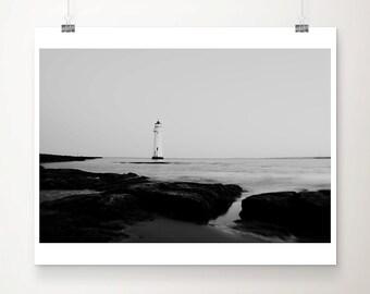 lighthouse photograph beach photograph ocean photograph nautical decor lighthouse print black and white photography