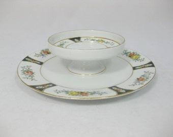 Noritake Serving Plate, Pedestal Serving Plate, Japanese Porcelain
