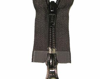 "5C 2-Way Open Black Nylon Coil Finished Zipper - 34"" & 36"""