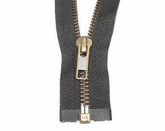 """32"""" #5 YKK Open Black Antique Metal Zipper"""