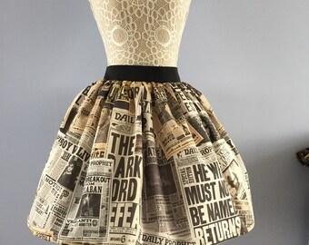 Daily Prophet Harry Potter inspired full skirt
