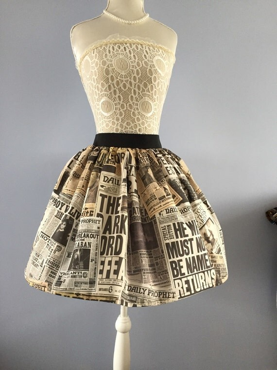 Daily Prophet Harry Potter inspired full skirt