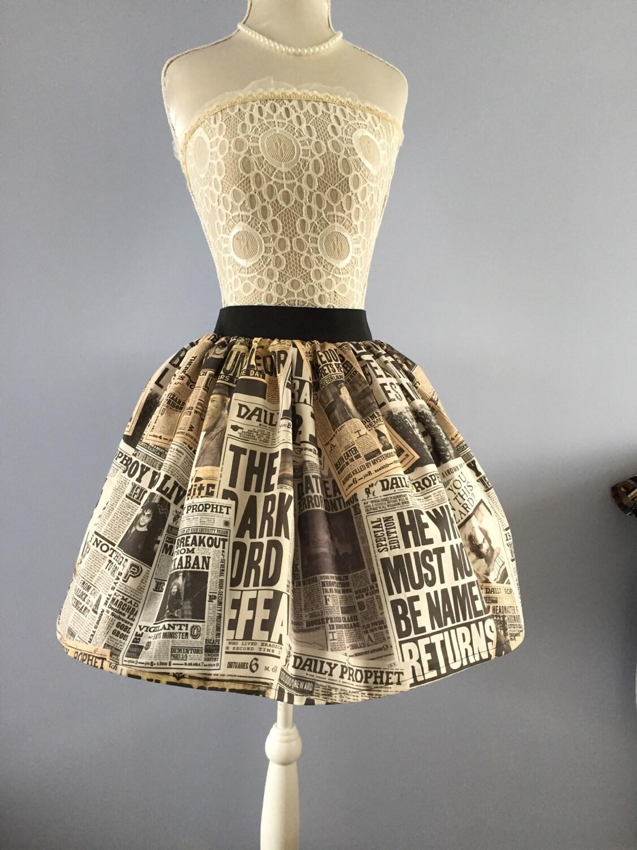 Harry Potter Daily Prophet Inspired Full Skater Style Skirt