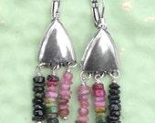 Handmade Silver Earrings with Gemstone Drops Dangles / Total 50 Watermelon Tourmaline Quartz  Gem Beads/ Unique, Colorful, OOAK Jewelry