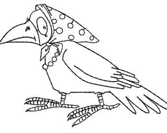 crow Embroidery Design - three sizes