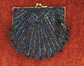 Vintage 1970s Iridescent Blues Beaded Sequin Evening Bag La Regale LTD