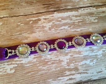 "The ""Sophia"" Shades of Purple Rhinestone Connector Headband, Infant Headband, Toddler Headband, Girls Headband"