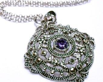 Gothic necklace-Purple Goth Necklace-Victorian goth necklace-silver Filigree pendant-vampire-goth-crystal necklace-gothic necklace-Purple
