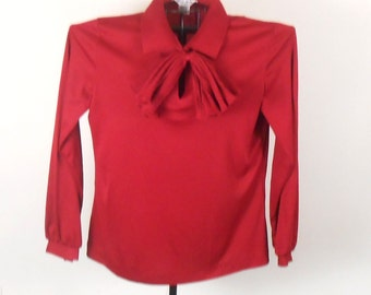 Vintage Womens Blouse Mardi Modes with Snap on Bow Polyester Burgundy - Free US Shipping