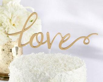 Elegant Love Gold Cake Topper Wedding Cake Toppers Decoration
