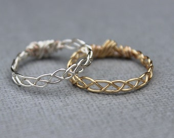 Braided Stacking Ring - Gold or Silver