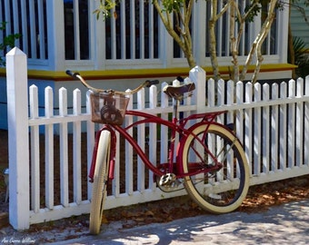 Bicycle leaning on a fence  in Seaside, Florida (canvas)