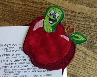 Embroidered Worn in an Apple Corner Bookmark