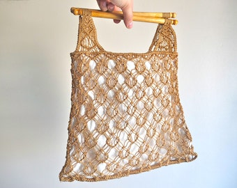 Vintage 70s macrame handbag, white fabric and wooden handles, 1970s