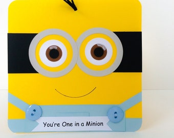 Minion Card for Kids, Minion Birthday Card, Childrens Birthday Card, General Minion Card for anyone, Handmade Minion Birthday  Card