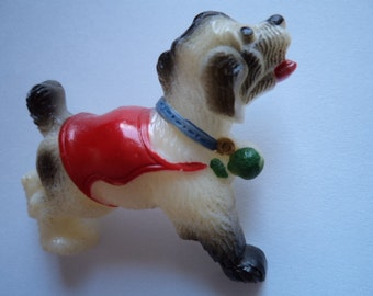 Vintage Fabulous Plastic Playful Dog wearing Red Jacket Brooch/Pin