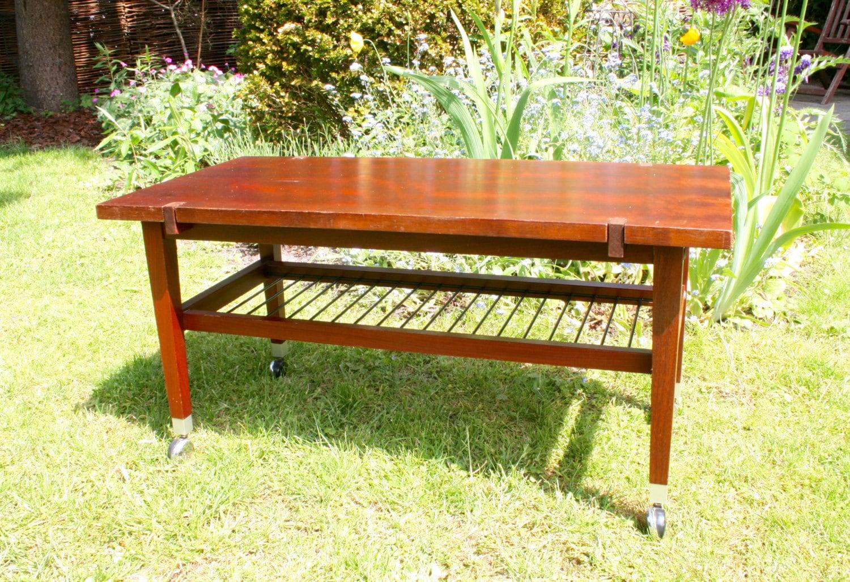 vintage coffee table rosewood veneer rolling table 1960s 1970s. Black Bedroom Furniture Sets. Home Design Ideas