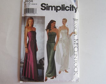 Simplicity 9484 Jessica McClintock Bustiers and Skirt Evening Gown Uncut Pattern Sizes 4, 6, 8, 10, Bustiers Skirt, Jessica McClintock