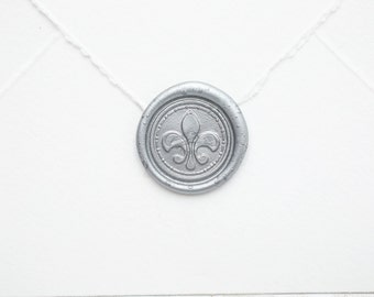 Fleur de Lis seal, French Renaissance Medieval Wedding Invitation Sticker, Peel and Stick Wax Seal Decal Flower Letter Wax Seal