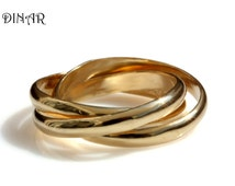 trinity wedding band, Intertwined rolling ring, Three 3mm wide Half Round Bands, 14k wedding band, solid gold bands,  Russian Wedding Band