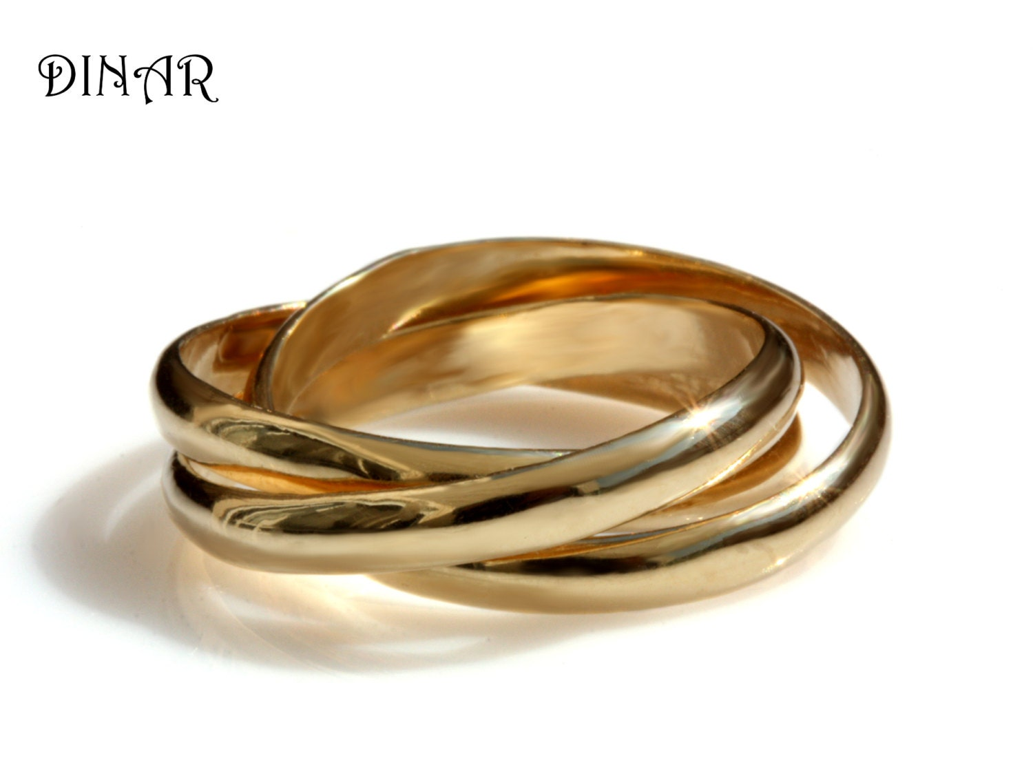 russian wedding ring russian wedding ring trinity wedding band Intertwined rolling ring Three 3mm wide Half Round Bands 14k wedding band solid gold bands Russian Wedding Band