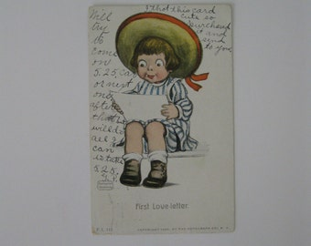 K Gassaway - Artist Signed Post Card - First Love Letter - FL#115 - Used - 1906