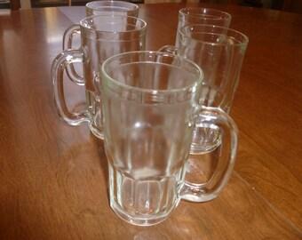 Five Vintage Glass Mugs