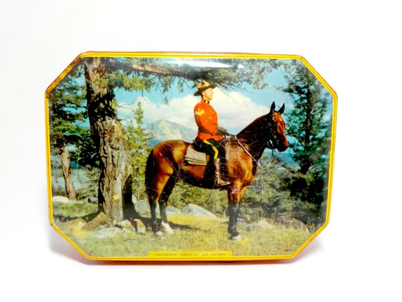 Candy Tin, Rileys Toffee Tin, Canadian Mountie Decorative Tin, Canadian Mountie on Horse, Canadian Mountains, Canada, Collectible Tin