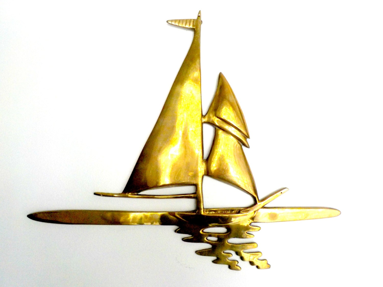 Large Brass Sailboat Wall Decor, Sailing Nautical Decor, Large ...