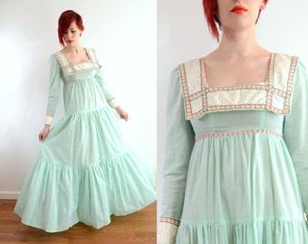 RARE Black Label Gunne Sax Maxi Dress Mint Green Gingham Floral Embroiderry Ribbon Empire Waist Tiers Puritan Collar Prairie Xxs Xs Small