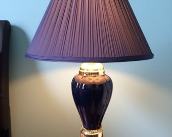 Blue ceramic gold table lamp and shade midnight blue