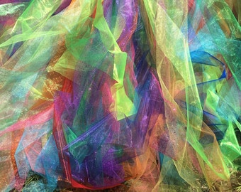 Sherbet pastel rainbow galaxy and white full length long adult for Sheer galaxy fabric