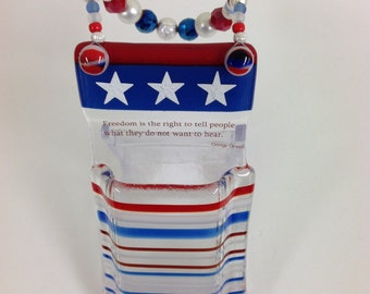 Patriotic Fused Glass Pocket Vase