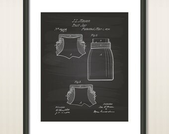 Improvement In Fruit Jars 1870 Patent Art Illustration - Drawing - Printable INSTANT DOWNLOAD - Get 5 colors background