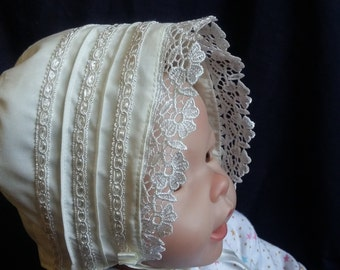 Boy/Girl Ivory/Cream  Christening/Baptism /Wedding Bonnet Size 0-24 M